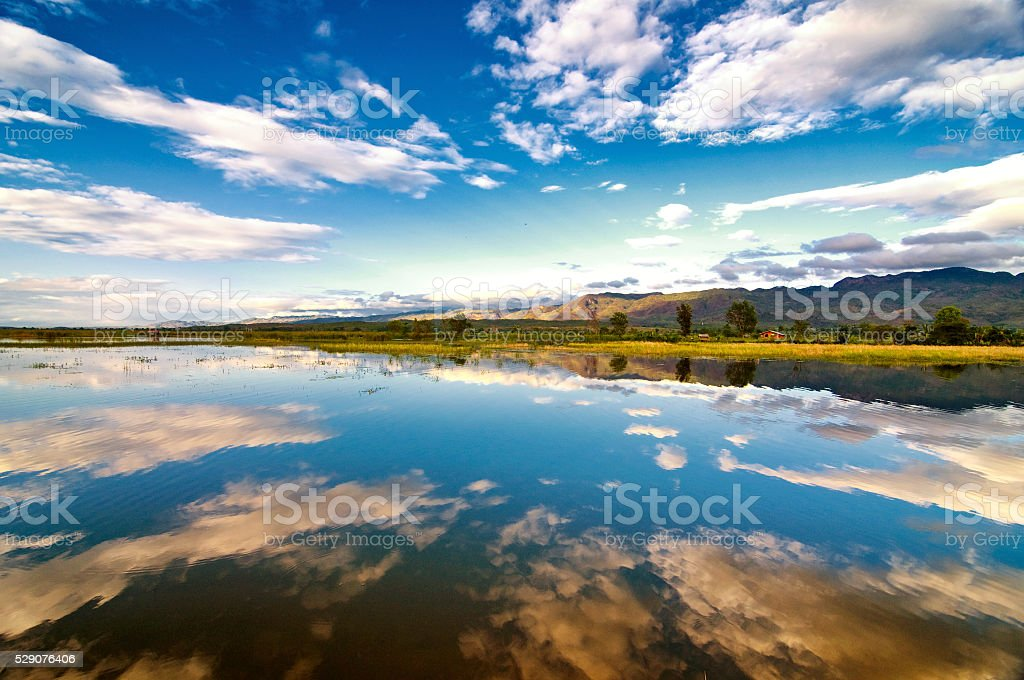 Peaceful counntryside at Inle lake, Myanmar stock photo
