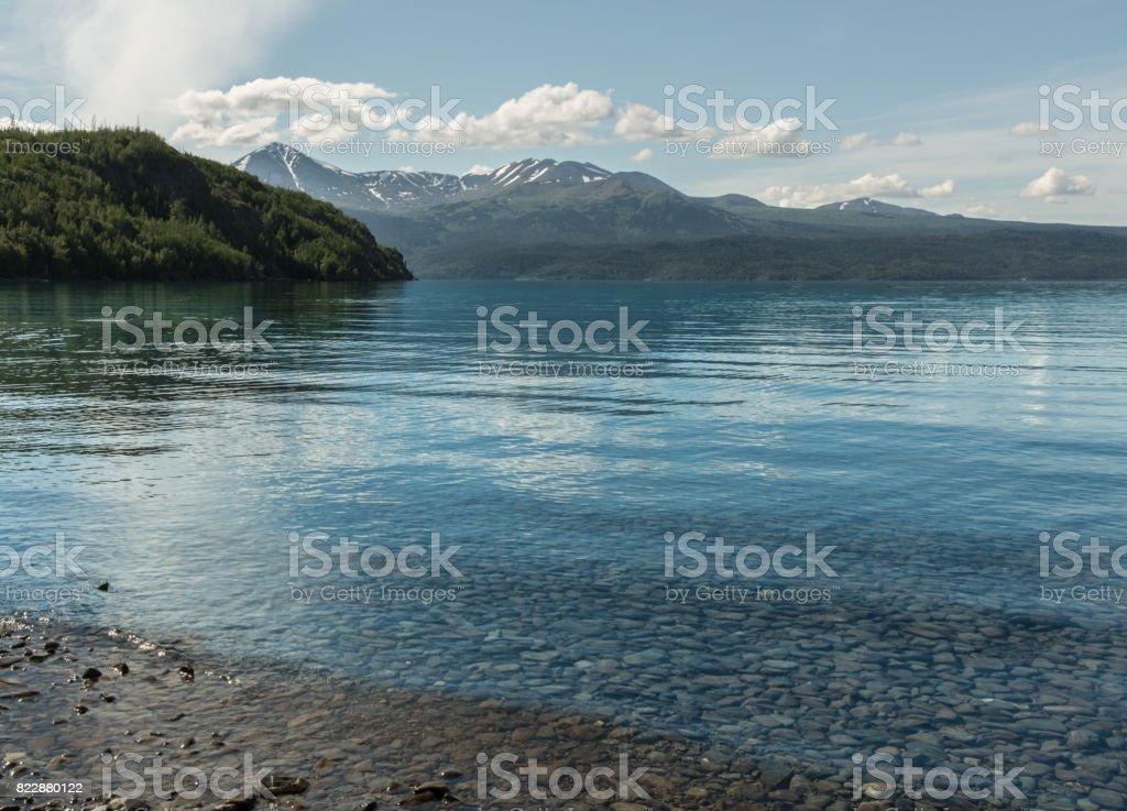 A Peaceful Cove Skilak Lake stock photo