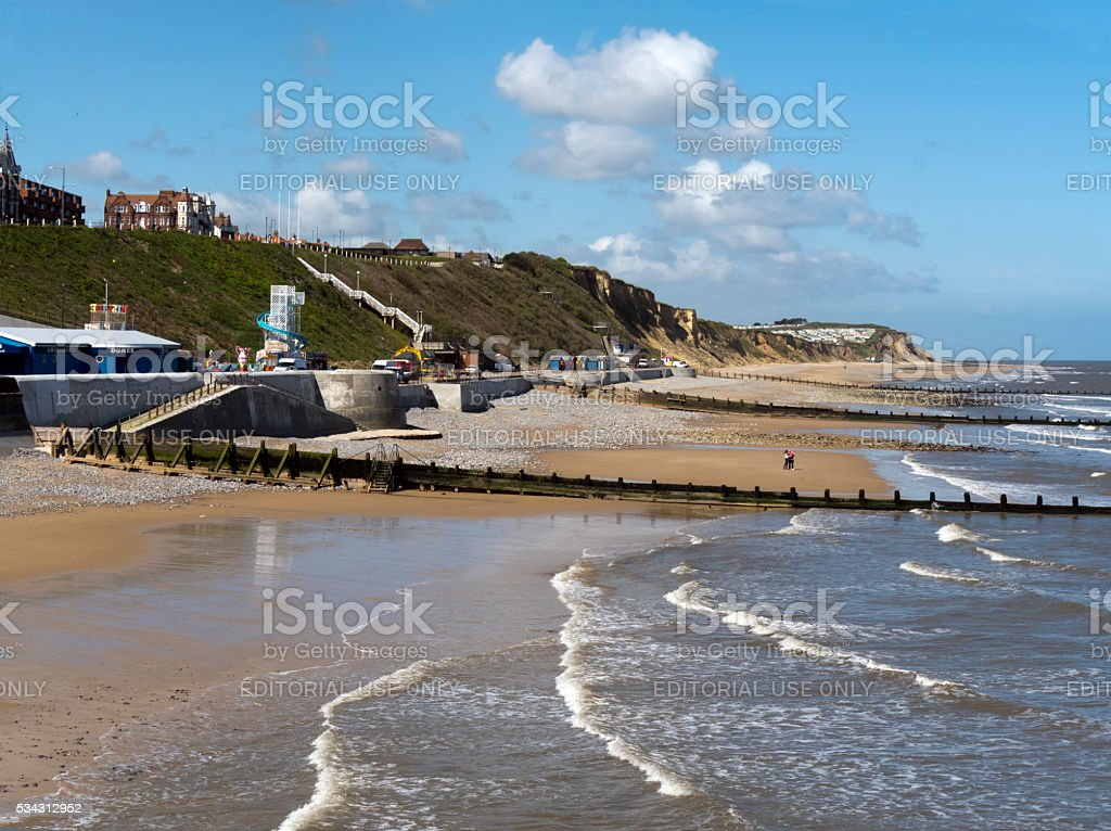 Peaceful day on Cromer beach stock photo