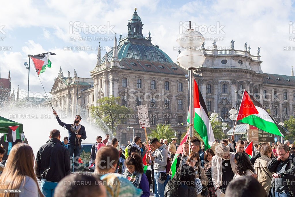 Peaceful demonstration for stopping Israel-Palestine conflict stock photo