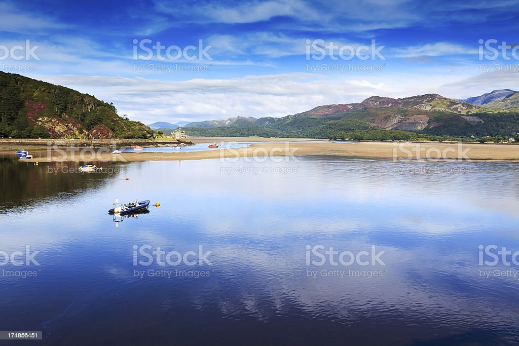 Peaceful Estuary at Barmouth,  Wales royalty-free stock photo