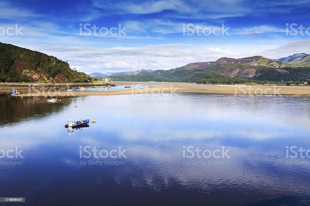 Peaceful Estuary at Barmouth,  Wales stock photo