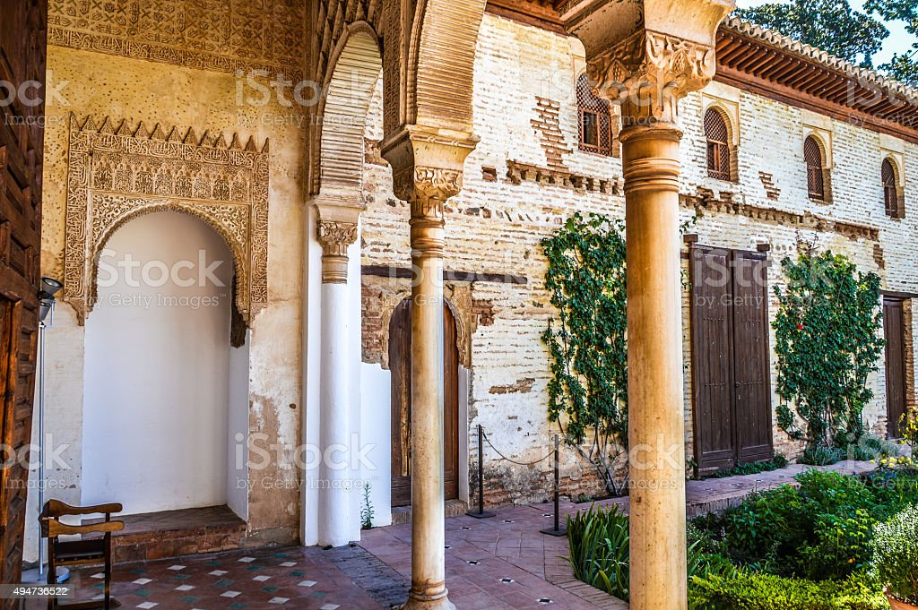 Peaceful garden in Alhambra stock photo