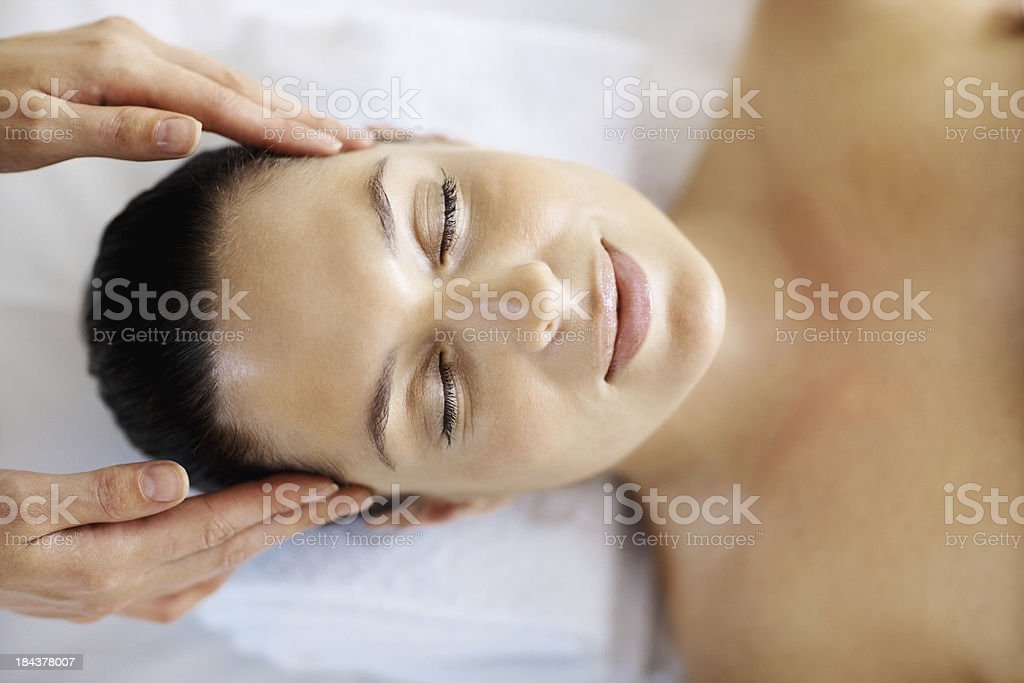 Peaceful head massage royalty-free stock photo