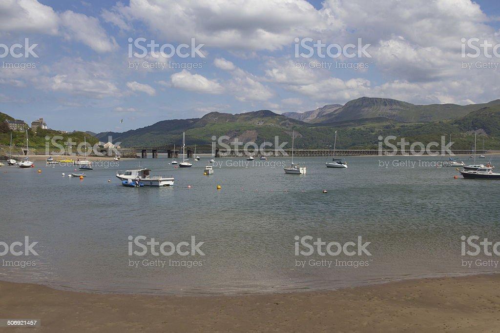 Peaceful Mawddach estuary Wales, UK. stock photo