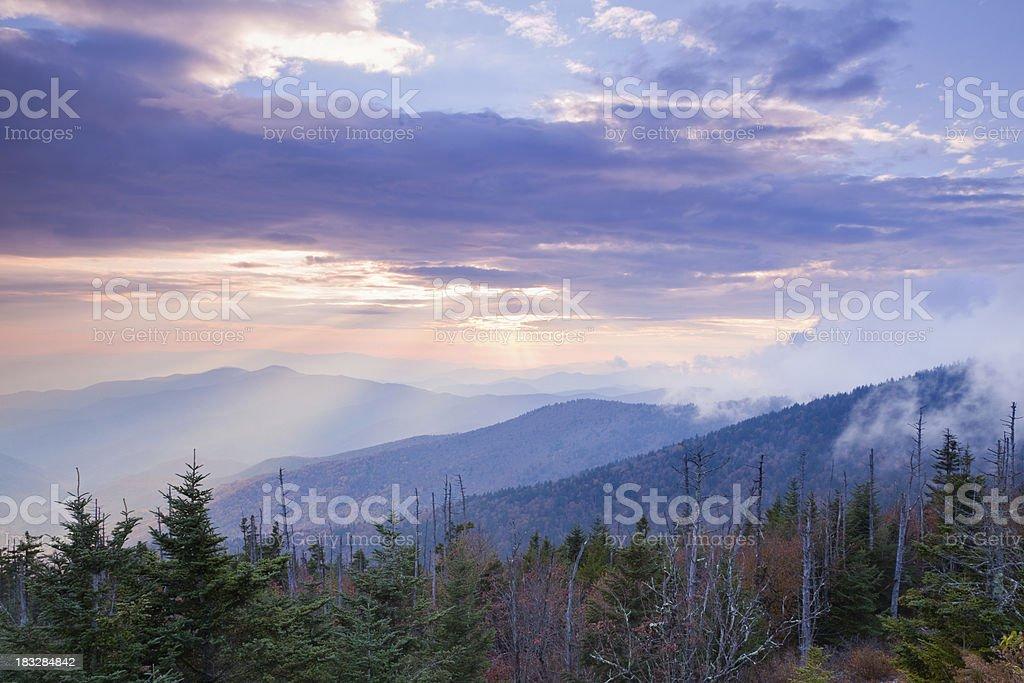 Peaceful Mountain Sunset stock photo