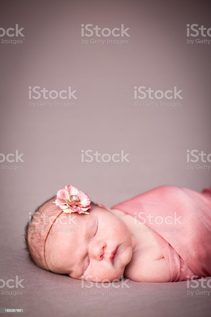 Peaceful Newborn Baby Girl Swaddled in Blanket, With Copy Space royalty-free stock photo