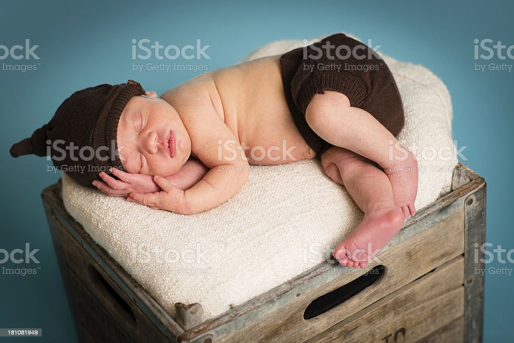 Peaceful Newborn Lying on Wood Crate royalty-free stock photo