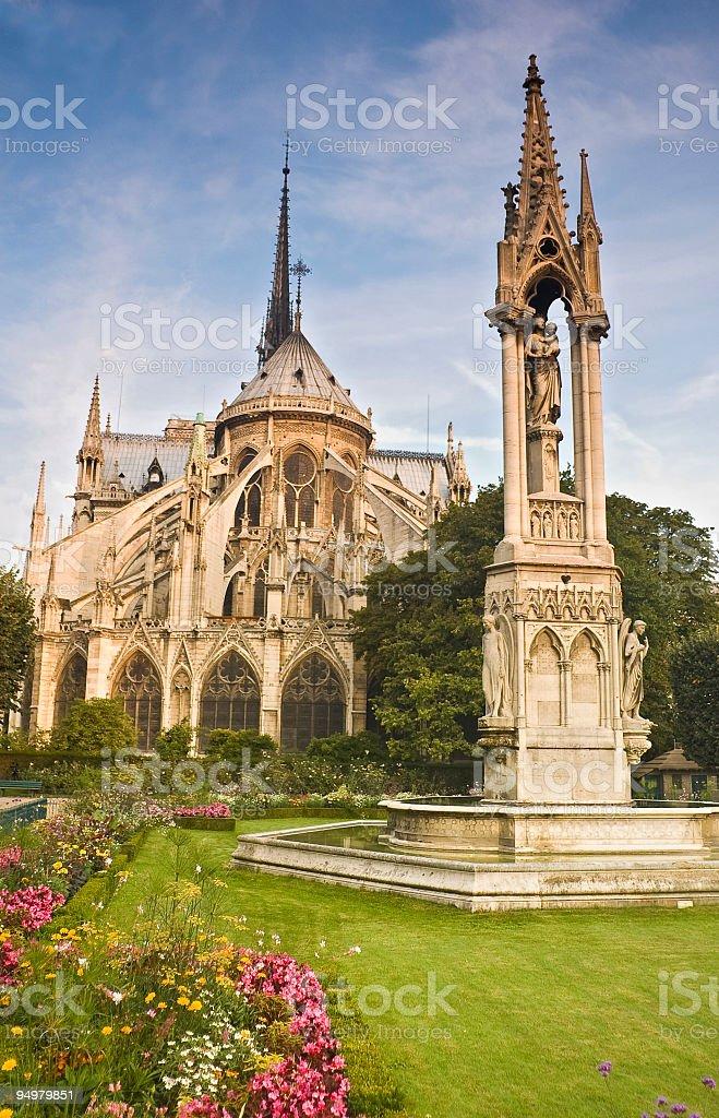 Peaceful oasis, Notre-Dame, Paris royalty-free stock photo