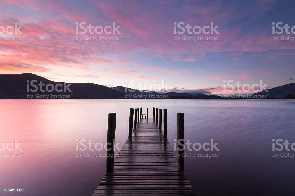 Peaceful pier on Derwentwater, UK Lake District stock photo