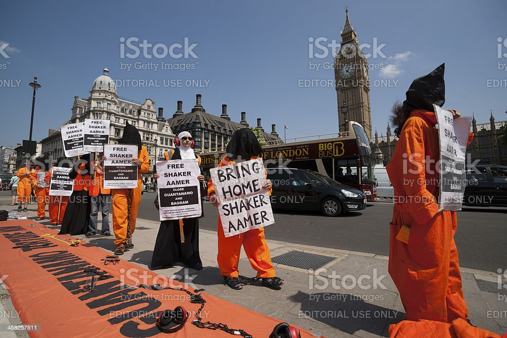 Peaceful protesters for Shaker Aamer. stock photo