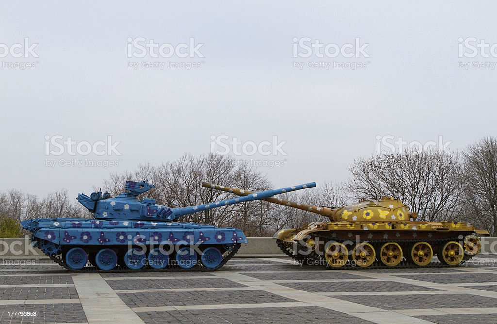 peaceful recolored tanks on the place stock photo