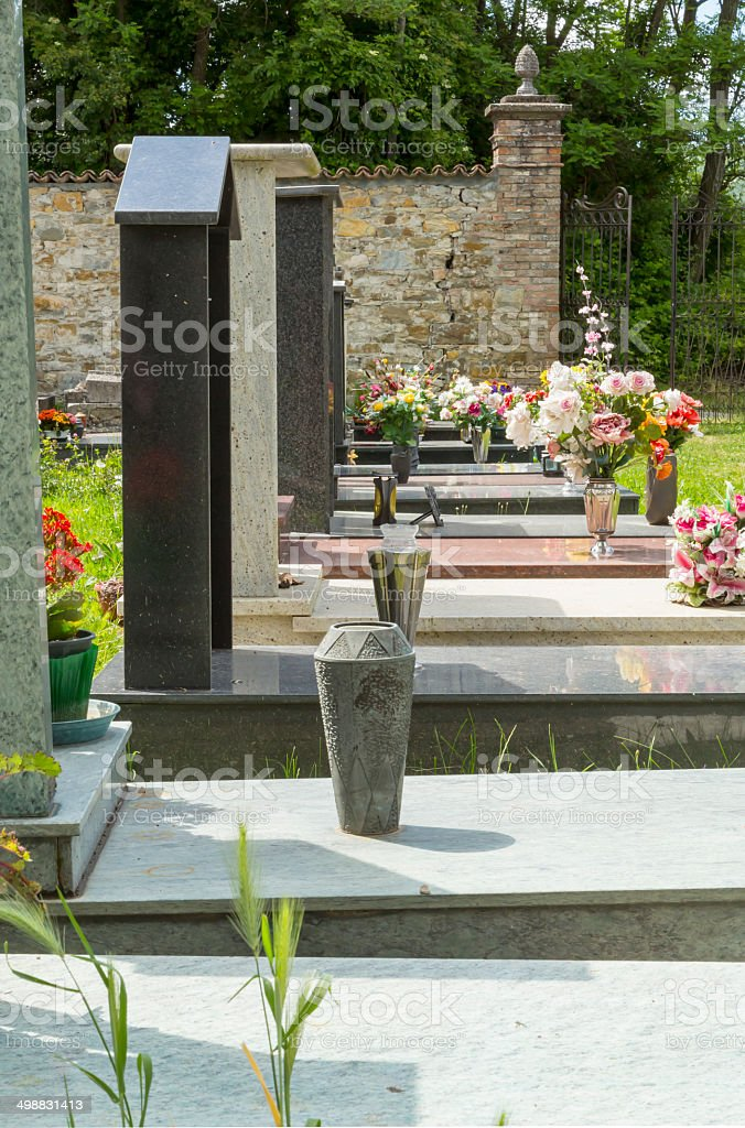 Peaceful Rest: Graveyard Headstones. stock photo