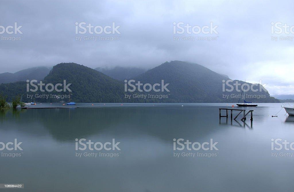 Peaceful scene to mountain and lake stock photo