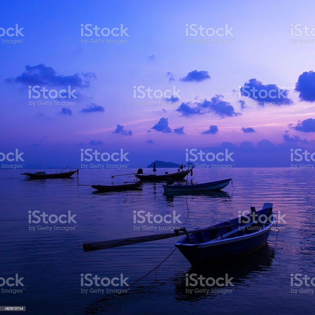 Peaceful Sunset on the island Koh Samui, Thailand stock photo