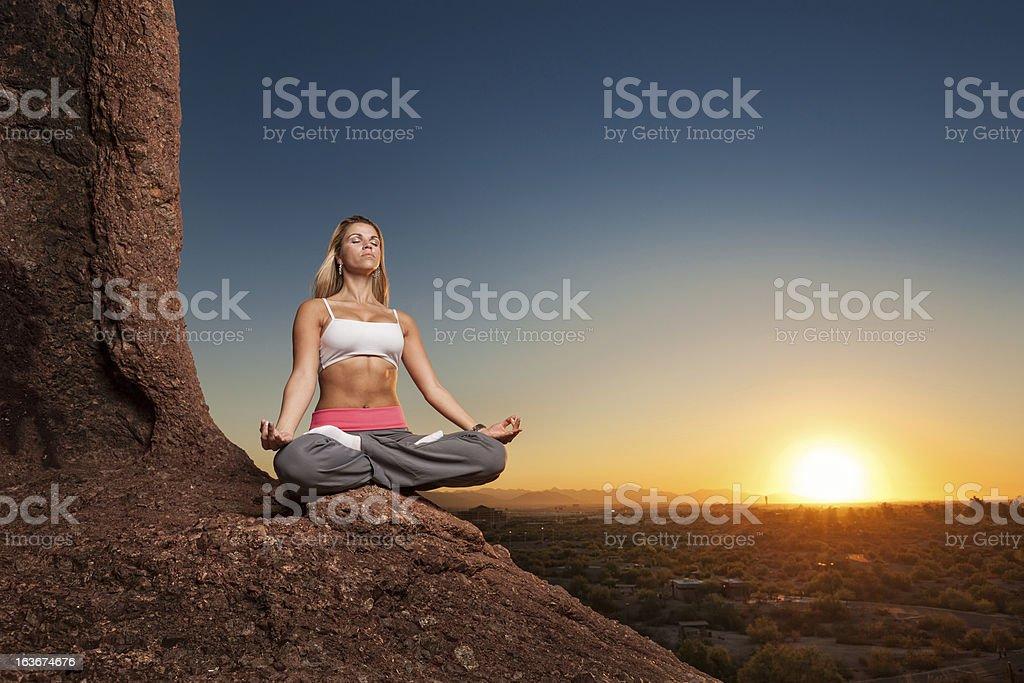 Peaceful Sunset Yoga Meditation royalty-free stock photo