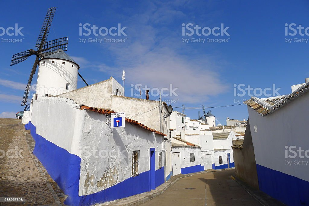 Peaceful town in La Mancha stock photo