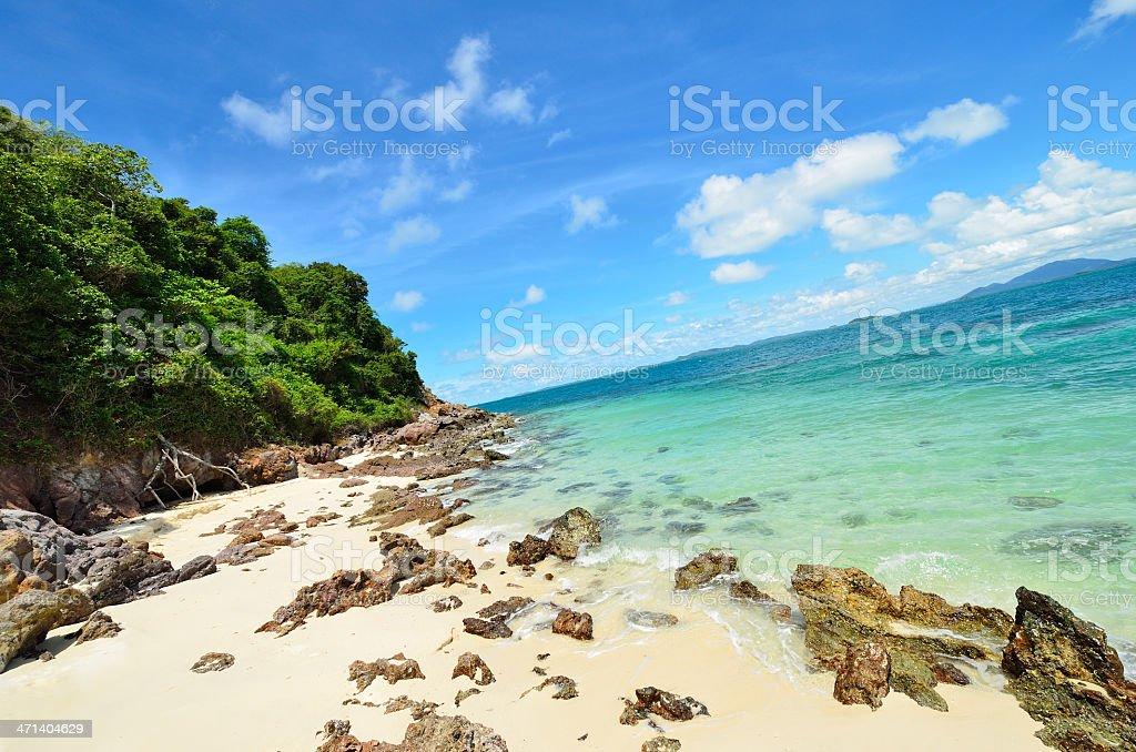 Peaceful white sand beach at Talu island stock photo