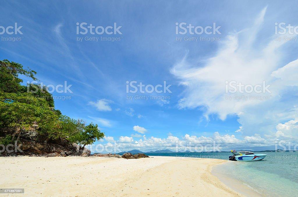 peaceful white sand beach at Talu island,Thailand stock photo