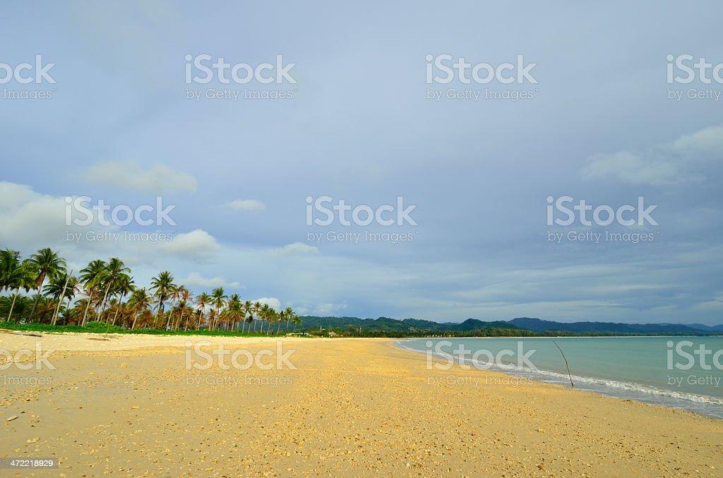 Peaceful white sand beach at Thailand stock photo