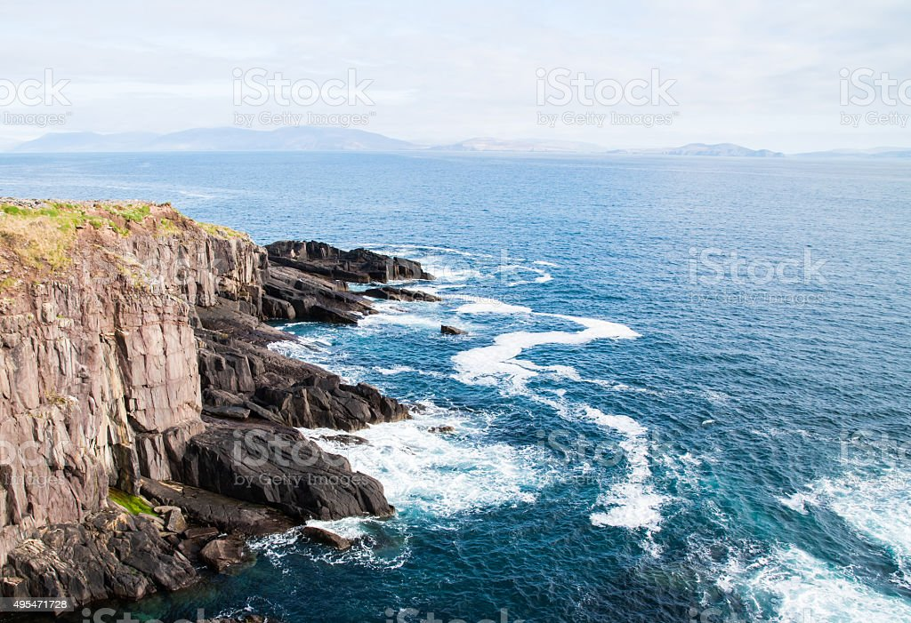 Peacefull Blue ocean and Irish Cliffs stock photo