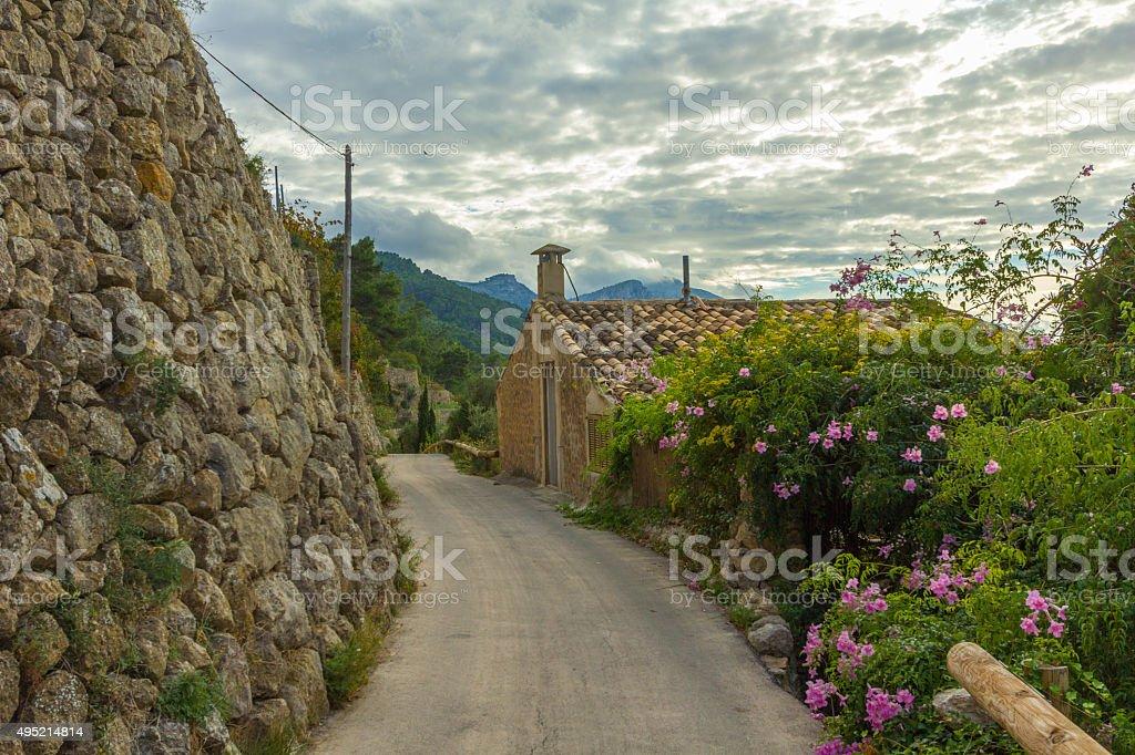 Peacefull old town country road Banyalbufar, Majorca stock photo