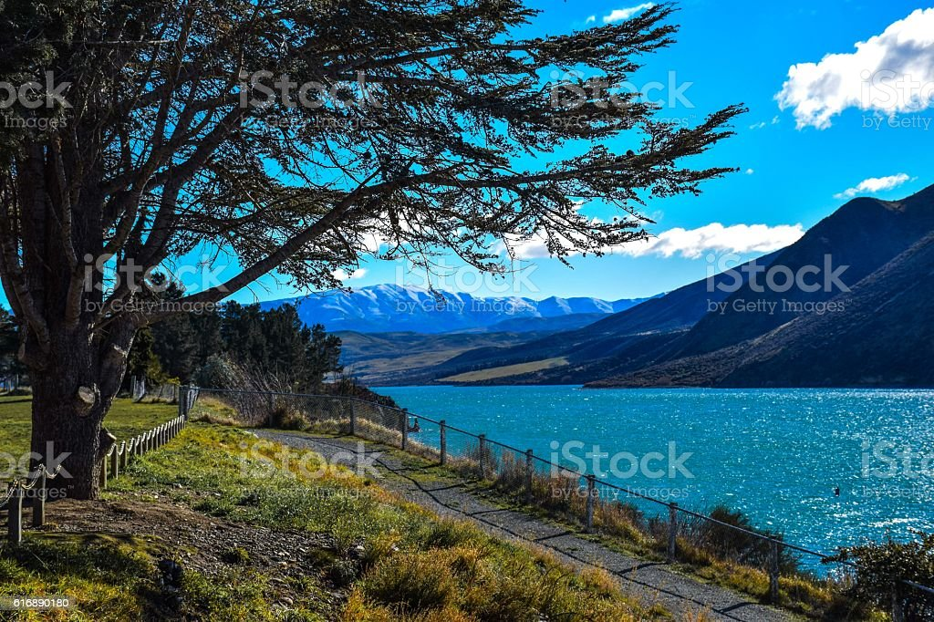 Peacefull view of mountains and lake in Otematata, New Zealand stock photo
