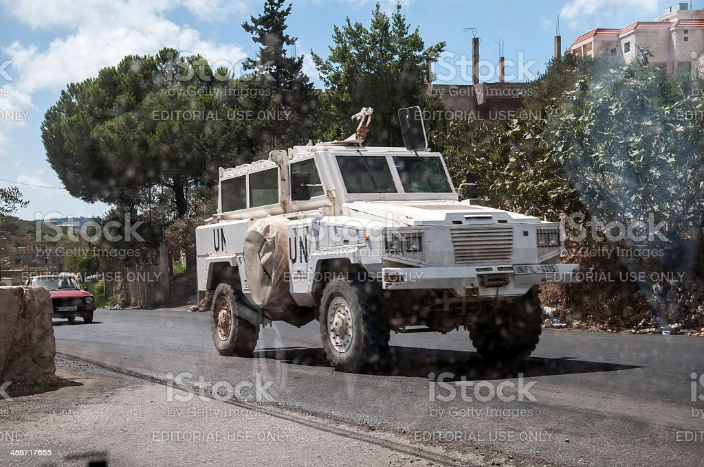 UN Peacekeepers and armored vehicle in southern Lebanon stock photo