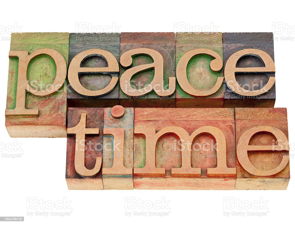peacetime word in letterpress type royalty-free stock photo