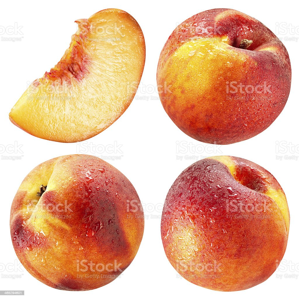 Peach and Slice with drops isolated on white stock photo