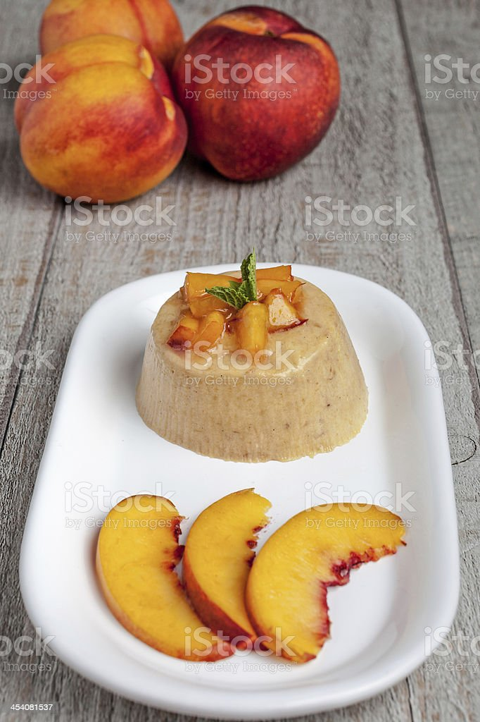 Peach Bavarian Cream Dessert stock photo