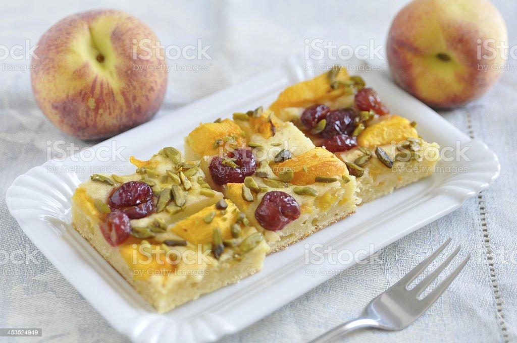 Peach Cherry Pie with Pistachios royalty-free stock photo
