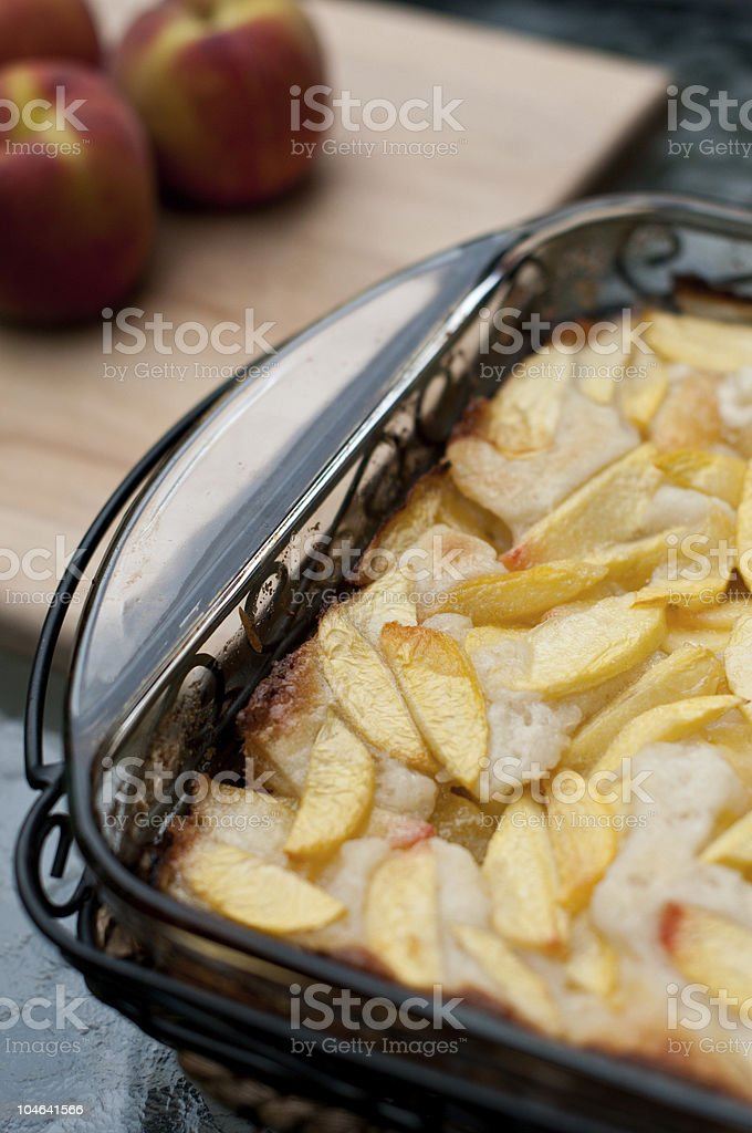 Peach Cobbler out of the oven royalty-free stock photo