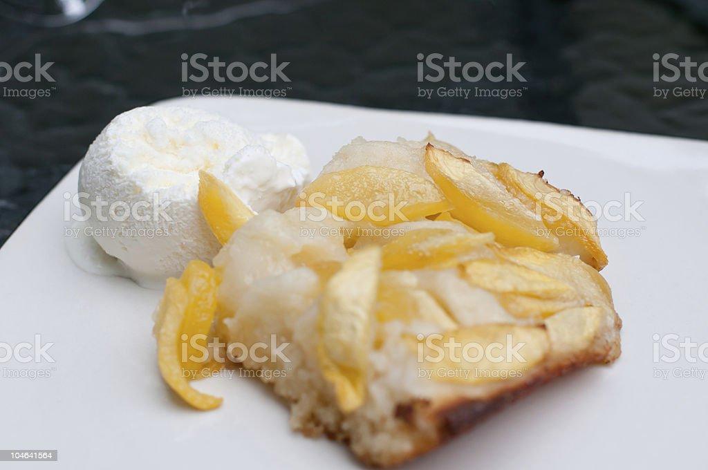 Peach Cobbler with Vanilla ice cream; DOF royalty-free stock photo