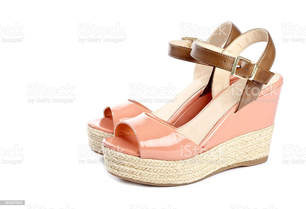 Peach Colored Wedge Sandals royalty-free stock photo