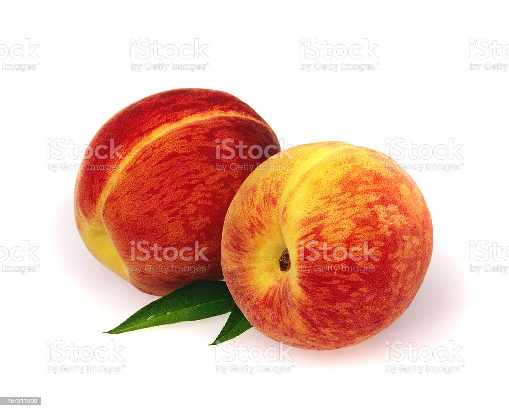 Peach duo with Leafs royalty-free stock photo