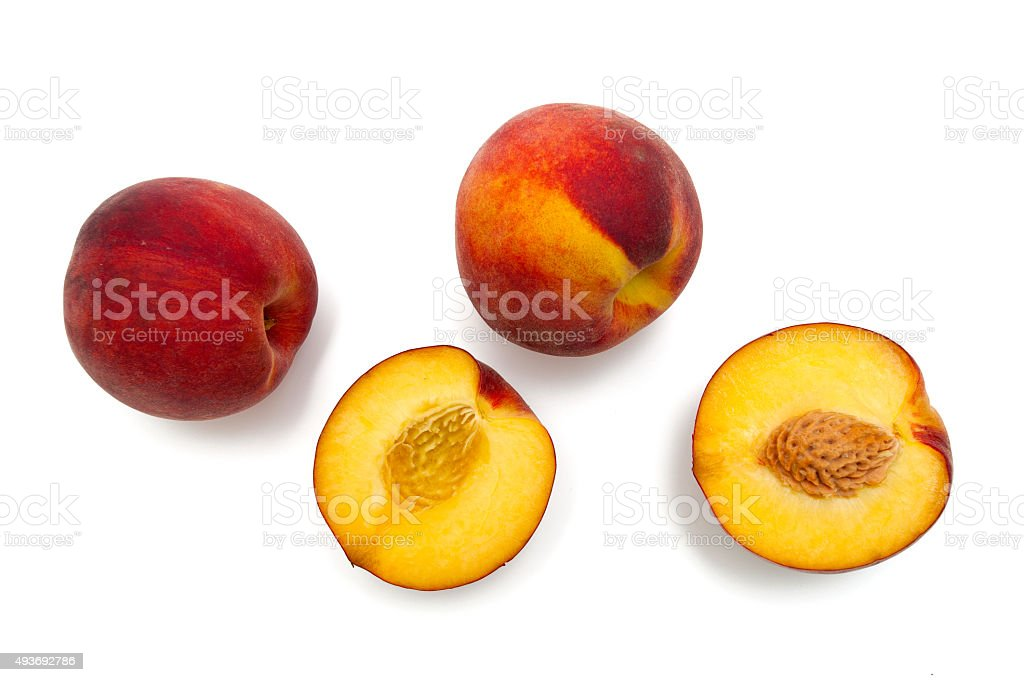 peach fruit isolated on white stock photo