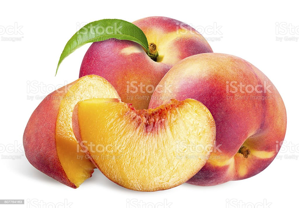 Peach. Fruits with leaf isolated on white background stock photo