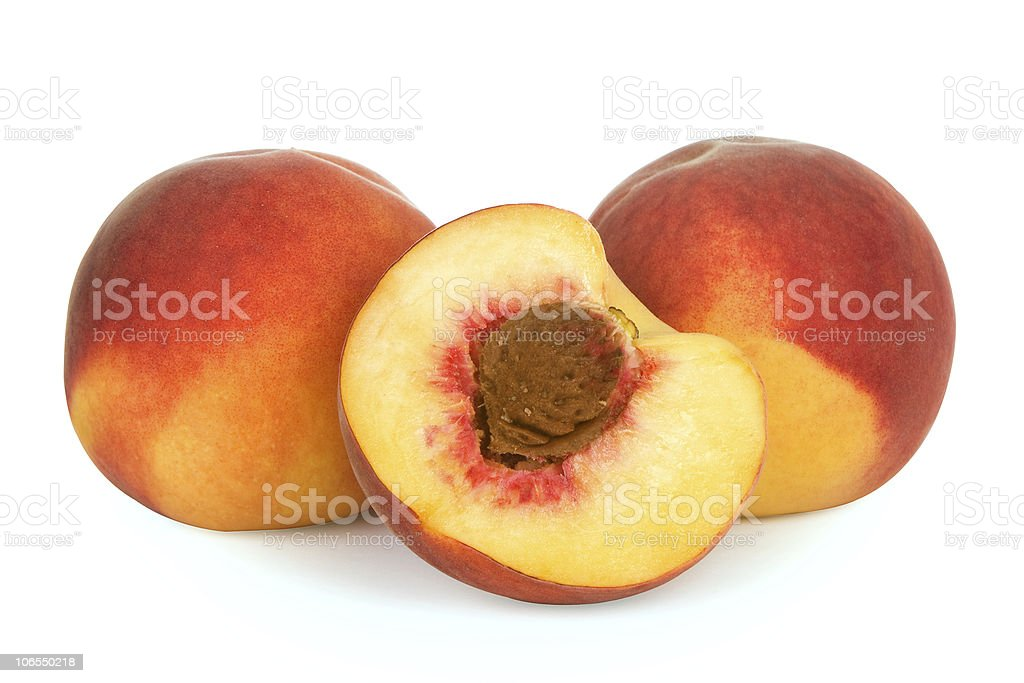 peach isolated over white background stock photo