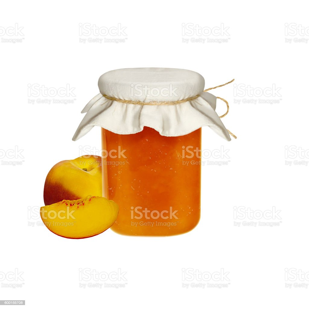 Peach jam and fresh peaches isolated on white stock photo