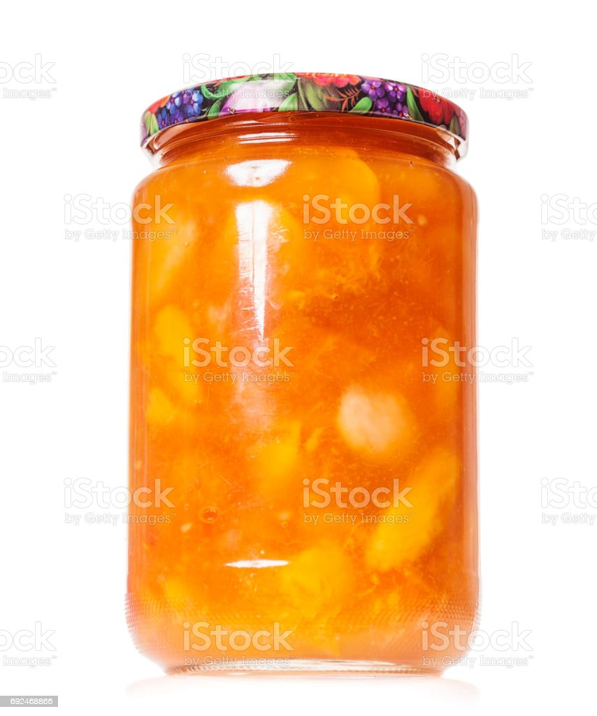 Peach jam preserves stock photo