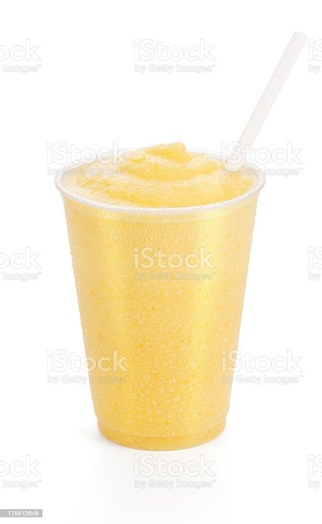 Peach or Mango Smoothie with Straw stock photo