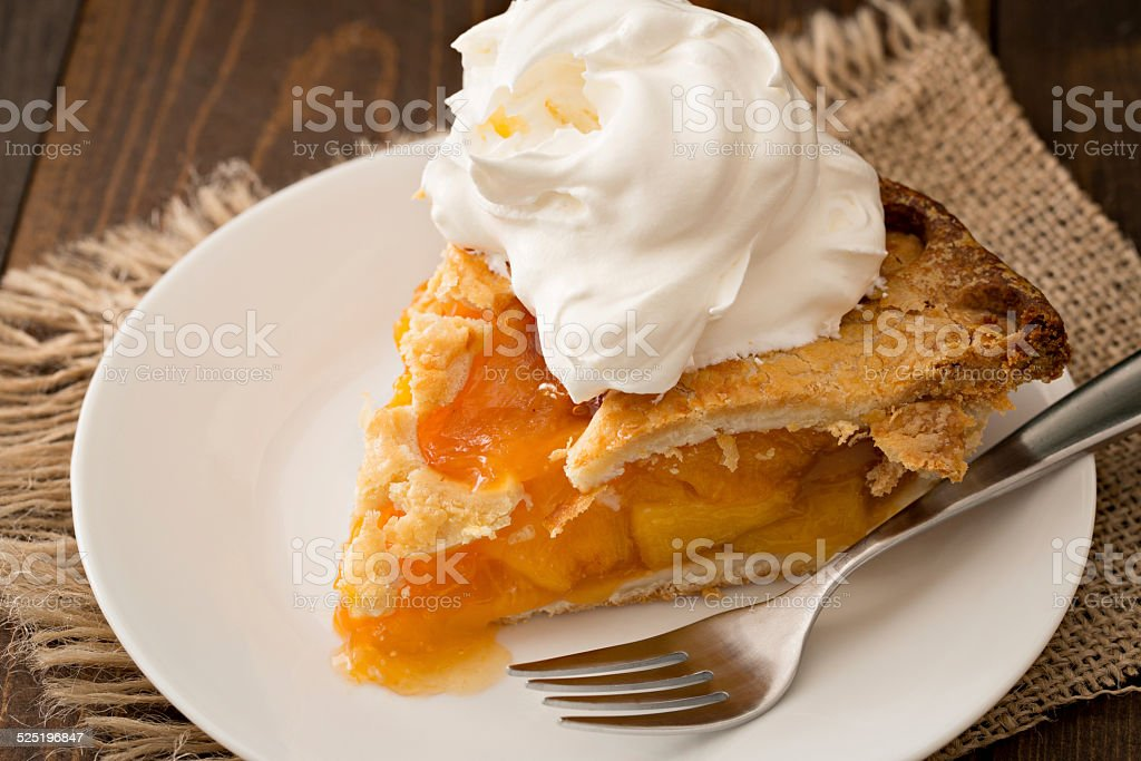 Peach Pie And Cream stock photo