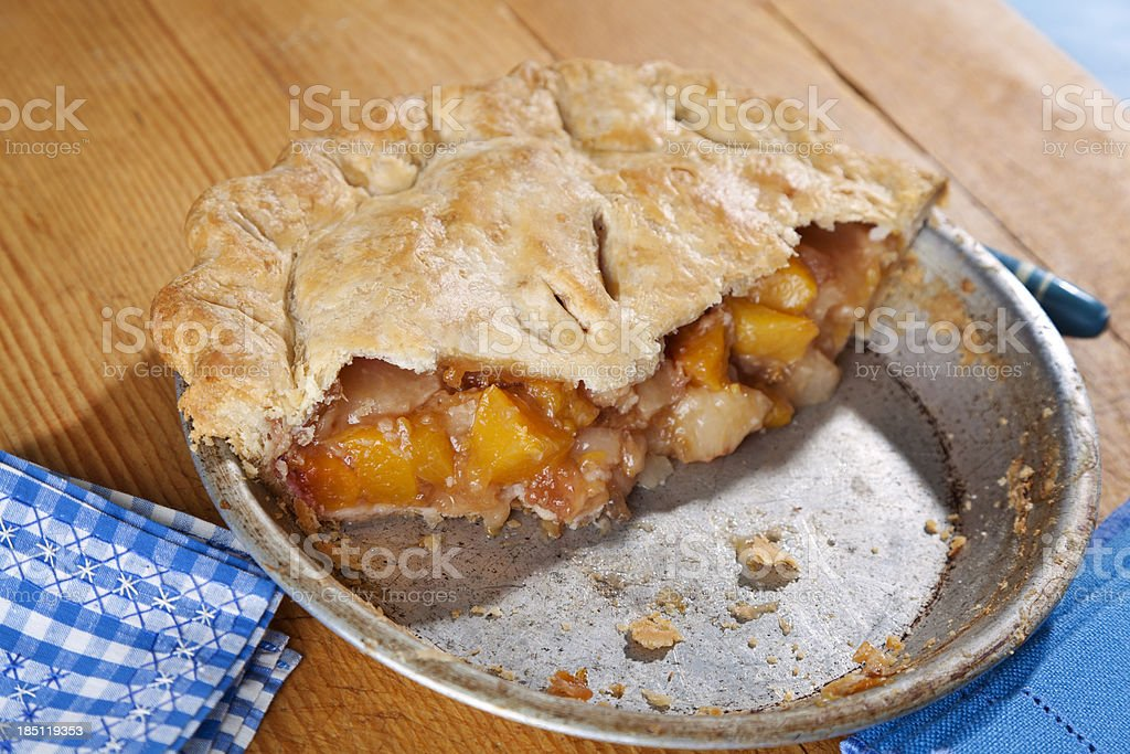 Peach Pie, Baked Summer Fruit Dessert stock photo