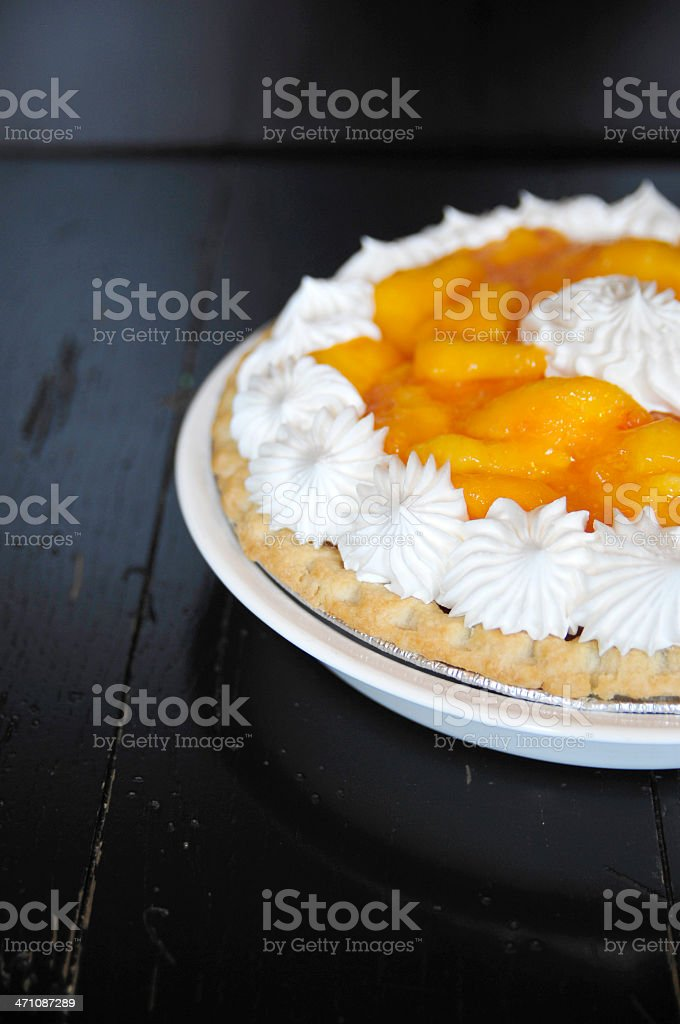 Peach Pie with Cream stock photo