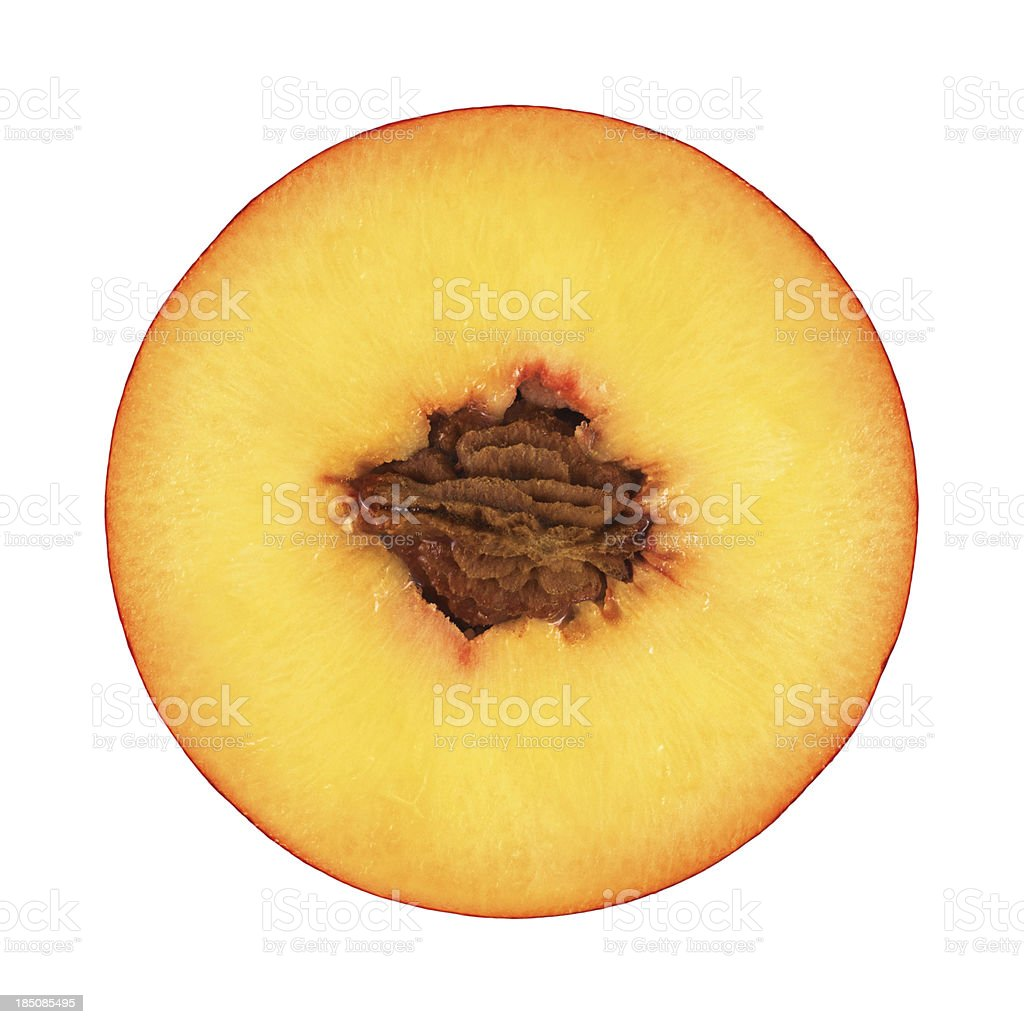 Peach portion on white stock photo