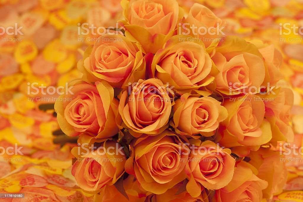 Peach Roses, Bouquet, Love, Romance, Selective-Focus, Warm Tone royalty-free stock photo
