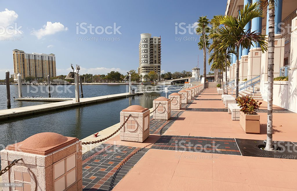 Peach sidewalks of the downtown business district in Tampa stock photo