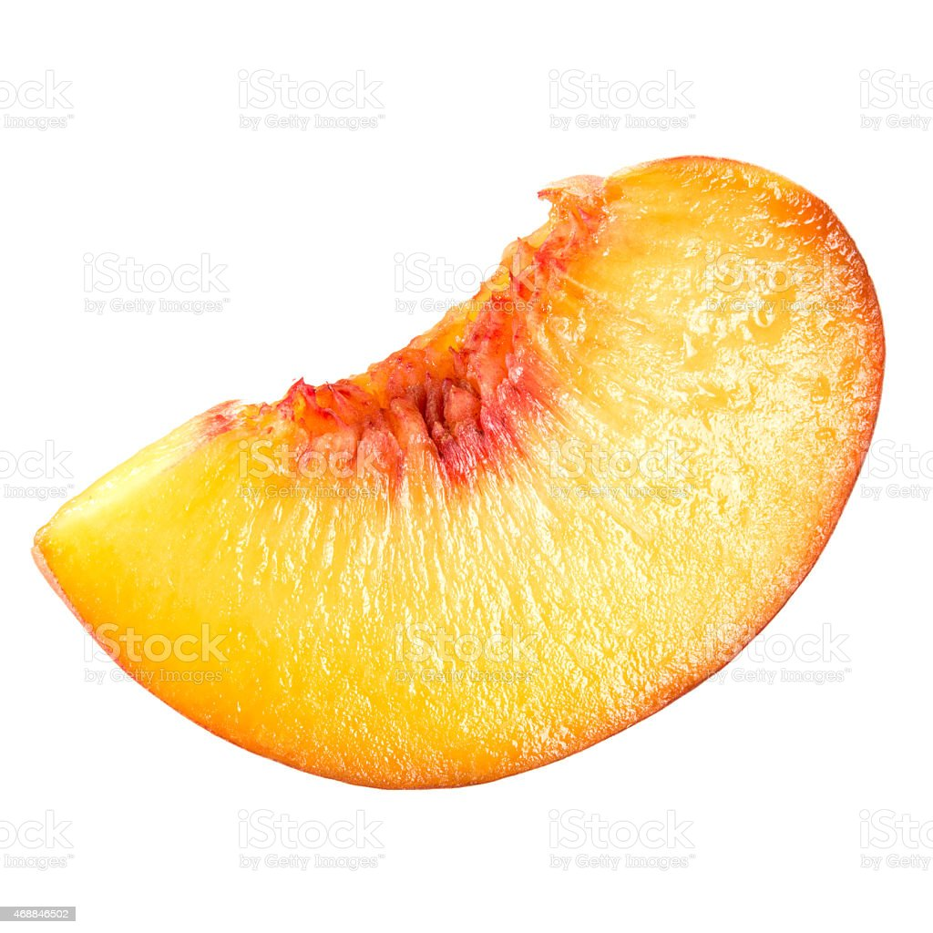 Peach. Slice of fruit isolated on white. stock photo