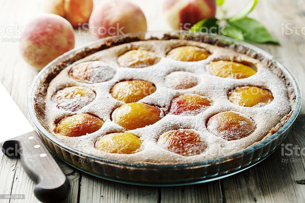 peach tart stock photo